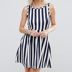Madam Rage Stripe Skater Dress With Heart Detail